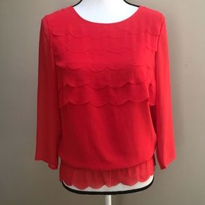 Ted Baker London Scalloped Sheer Blouse Top Size 1